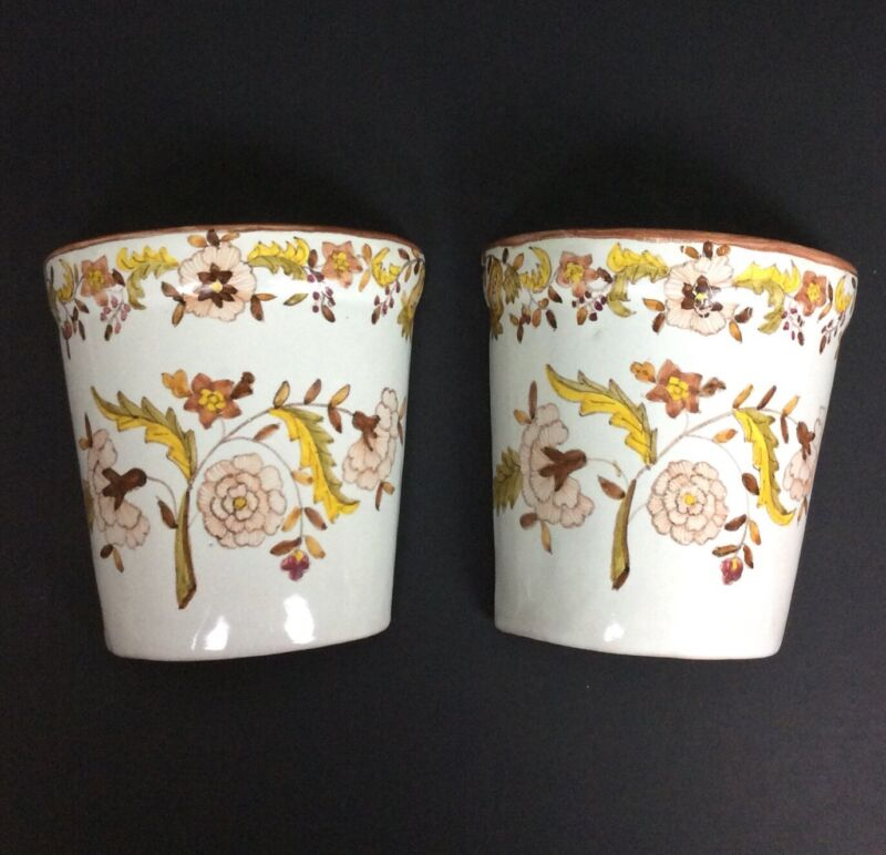 Floral Ceramic Wall Pockets Set of 2 Gold Brown Made In Portugal