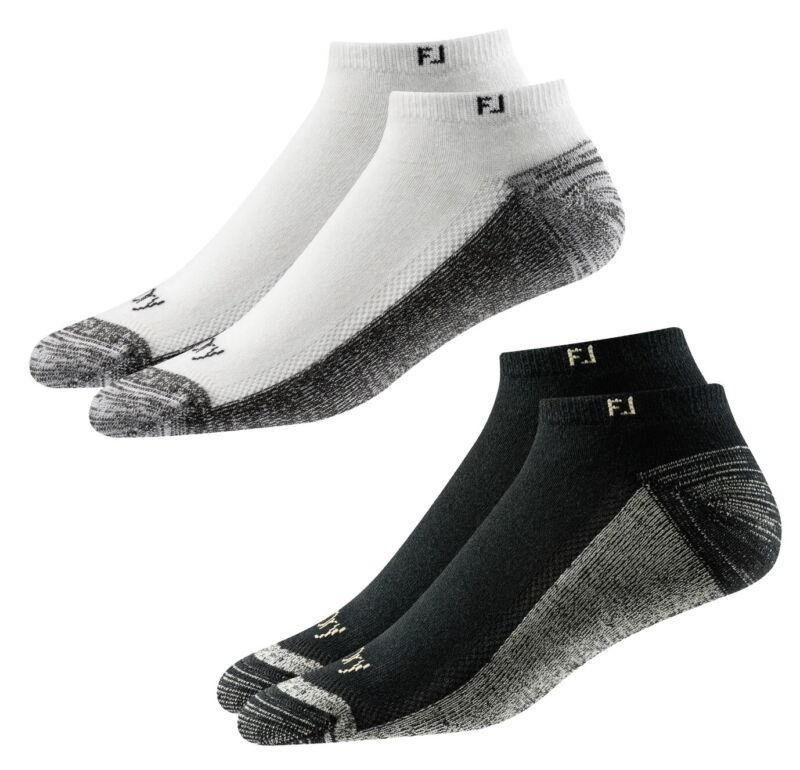 FootJoy Mens ProDry Low Cut Golf Socks (2-Pack) - Black - 12-15