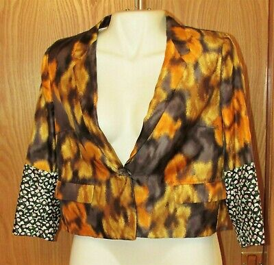 Vtg Designer Auth Women Multicolored Jacket DRIES VAN NOTEN Sign Long Sleeve 14v