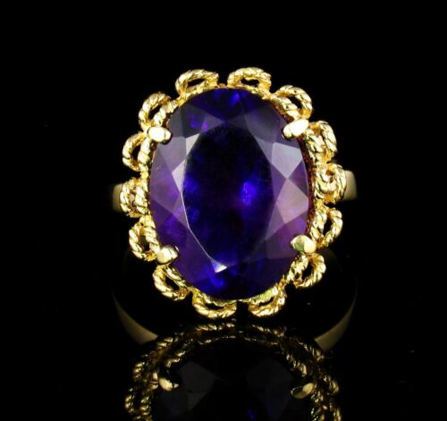 VINTAGE RETRO FINE NATURAL 12.0ct SIBERIAN AMETHYST SOLID 14K GOLD COCKTAIL RING