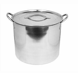 Deep Large Stainless Steel Casserole Cook Stockpot Saucepan Soup Stew Pots & Lid