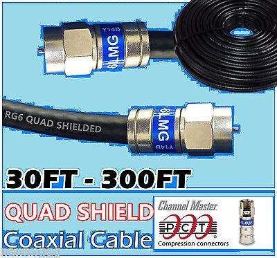 RG6 Quad PCT F Black Coax Internet Cable 0.5-300 Satellite Antenna TV Video lot Black Rg6 Video Cable
