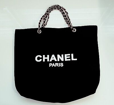 Chanel VIP gift canvas tote bag black