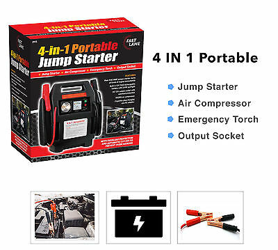 Car Jump Starter Air Compressor Battery Charger Booster Leads Heavy Duty 4 in1