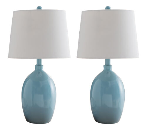 Kings Brand Light Blue with White Fabric Shade Table Lamps,