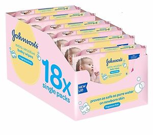 Johnson's Baby Extra Sensitive Fragrance Free Wipes Pack of 18, Total 1008 Wipes