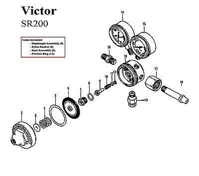 Victor Sr200 Sr200d Oxygen Regulator Rebuildrepair Parts Kit W Diaphragm