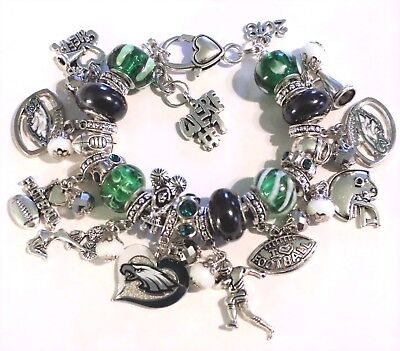 "NFL Philadelphia Eagles Super Bowl 52 Champions Charm Sports Bracelet 8""  Adj."