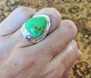 Pear Shaped, Green Turquoise Ring, size 6 US, 925 Sterling Silver