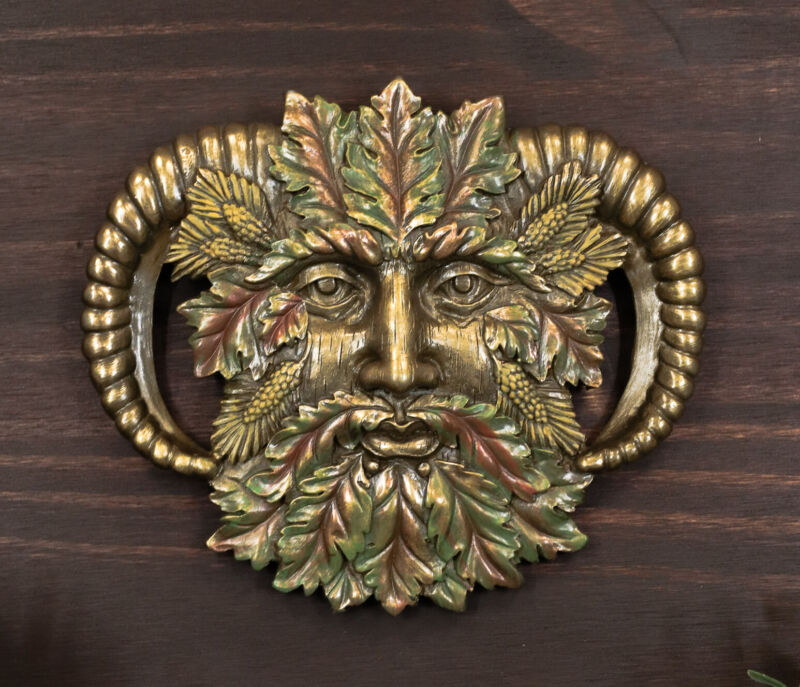 "Ebros Horned God Autumn Fall Season Greenman Spirit Wall Decor Plaque 7""Wide"