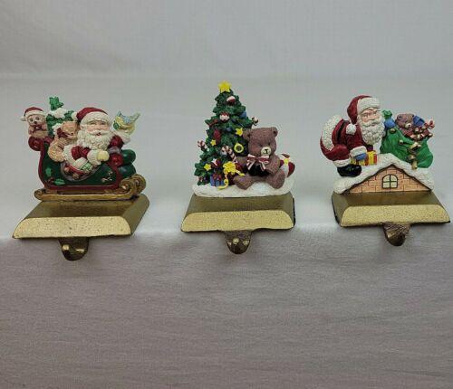 XMAS Stocking Hangers Lot of 3 Santa Sleigh Chimney Tree Toys Cast Iron Gold Vtg