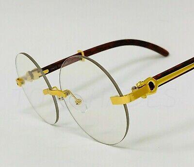 Mens Clear Lens Eye Glasses Rimless Gold Wood Frame Sophisticated Classy ELEGANT Rimless Mens Lens