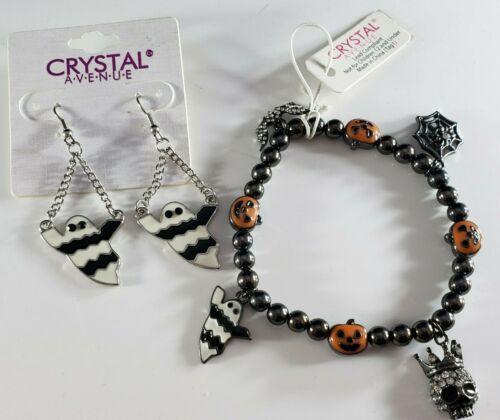 Designer Crystal Avenue Bracelet and Earrings Ghost Skulls Bat Lot Halloween 🎃