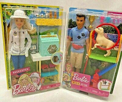 BARBIE Playsets Lot of 2 ~ Beekeeper Barbie & Dog Trainer Ken ~ NEW
