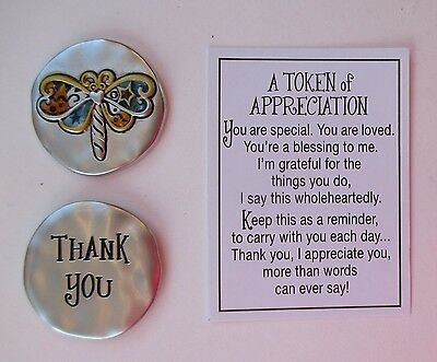 A Token Of Appreciation (k Dragonfly thank you A TOKEN OF APPRECIATION Pocket charm Ganz)