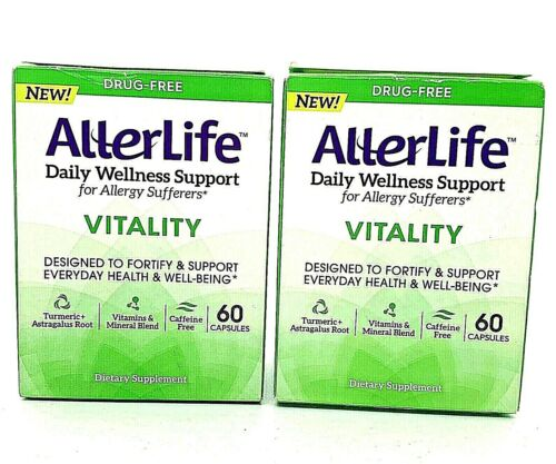 2 AllerLife Vitality Daily Wellness Support Allergy Sufferers 60 Capsules each