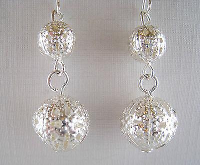 Vintage Style Dangling Filigree Silver Plate Bead Earrings