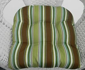 Wicker outdoor seat chair cushion brown green teal stripe for Teal and brown chair