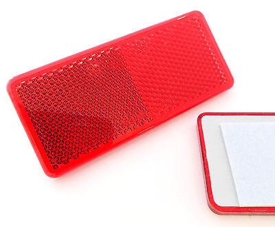 2x Self-Adhesive Red Oblong Rectangular Trailer Caravan Rear Reflectors 90x40mm