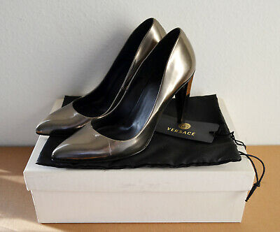 Pre-owned Versace Leather Decolette Pumps Heels Metallic Size US5.5/EU35.5 $675