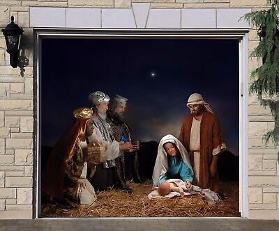 Jesus Christmas Single Garage Door Cover Full Color Nativity Scene Mural GD200 (Garage Door Scenes)