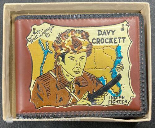 1955 ORIGINAL WALT DISNEY DAVY CROCKETT WALLET ORIGINAL BOX FLAWLESS CONDITION