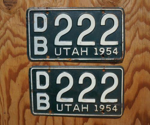 1954 Utah Passenger License Plate PAIR / SET # 222