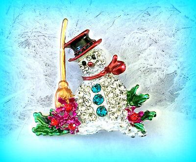 FROSTY THE SNOWMAN RHINESTONE & ENAMEL SILVER PIN BROOCH~CHRISTMAS GIFT FOR -