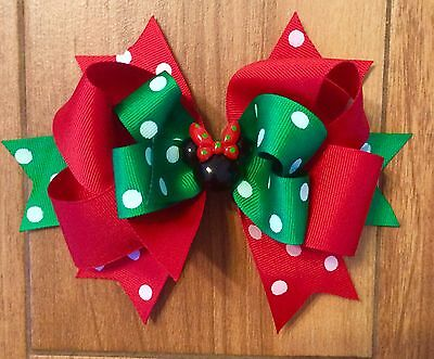 MINNIE MOUSE GIRL'S CHRISTMAS BOUTIQUE HAIR BOW HAIRBOWS 6 INCH HAIR BOW