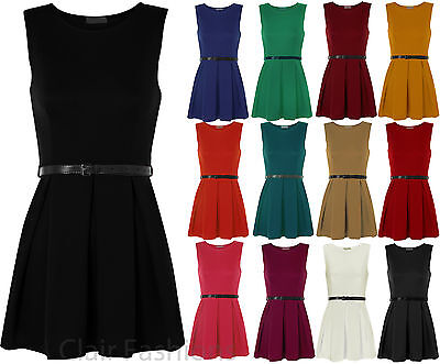 New Ladies Belted Flared Skater Short Mini Dress Sleeveless Pleated Womens 8-14