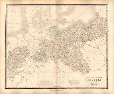 1844 LARGE ANTIQUE MAP- JOHNSTON - PRUSSIA, PREUSSEN