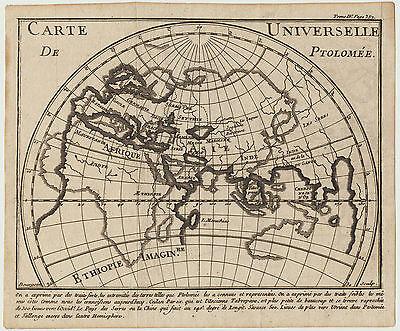 PTOLEMÄUS Landkarte GLOBUS Original Kupferstich um 1750 ERDE Atlas Geografie