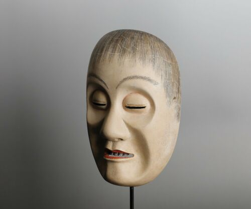 Japanese  Noh Mask depicting Yoroboshi (Blind Monk) character KK77