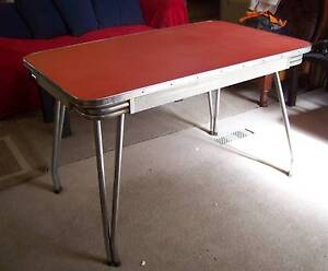 Retro Chrome Red Formica Kitchen Table - 1950's Emerald Cardinia Area Preview