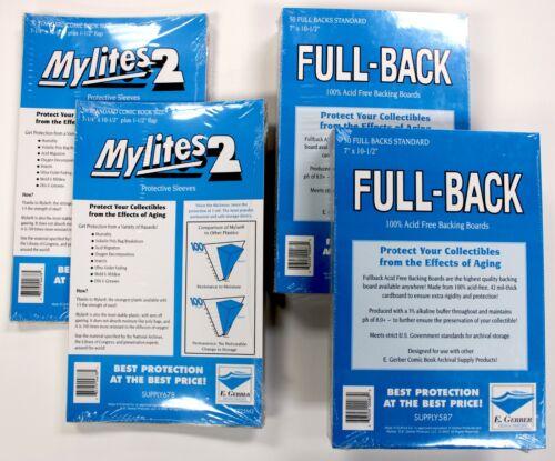 100 E.Gerber Mylites2 STANDARD Mylars Sleeve + Full Back 42pt Boards 725M2/700FB
