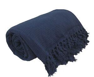 Navy Blue 100 Cotton Sofa Bed Throw Single Double King Size Throws EBay