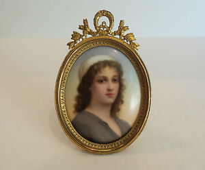 19th c miniature portrait painting of ruth on porcelain in oval gilt
