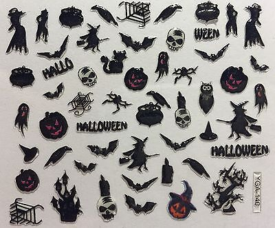 D Halloween (Nail Art 3D Decal Stickers Halloween Witch Cauldren Spider Owl Bat Crow)