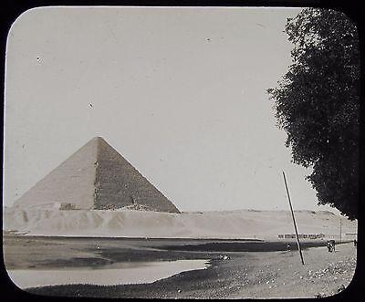 Glass Magic Lantern Slide APPROACHING THE GREAT PYRAMID C1900 PHOTO EGYPT