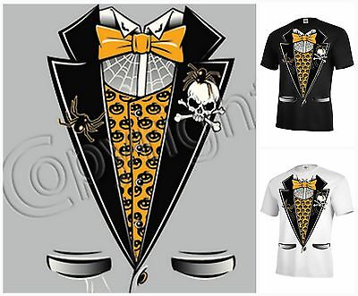 TUXEDO skull spider pumpkin T-shirt Adult Unisex Funny Scary Halloween P627
