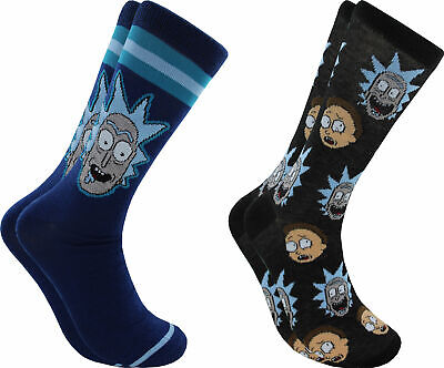 Hyp Rick & Morty Faces Men's Crew Socks 2 Pair Pack Shoe Size 6-12