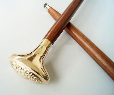 Brass Edwardian Head Walking Stick Canes Shaft Wooden Amazing Design Handle gift
