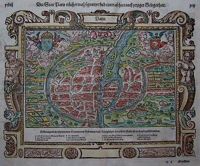 Paris - Die Statt Paris - Sebastian Münster 1550 - Originaler Holzschnitt - Rare