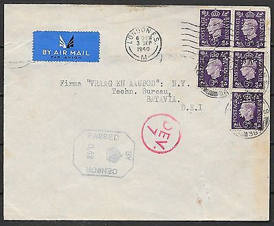 Great Britain covers 1940 cens Airmailcover London to Batavia  PERFINS