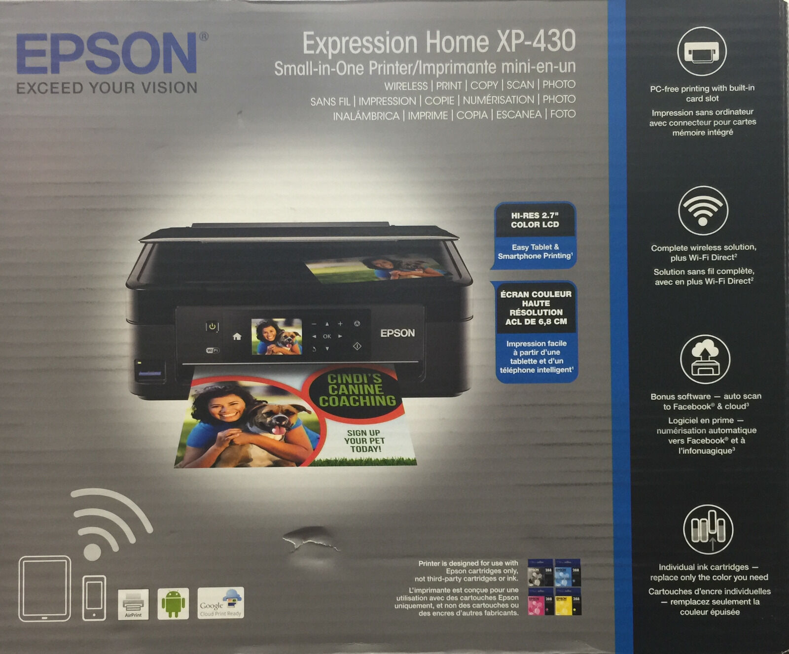 $59.89 - NEW Epson Home XP-430 (420)-all in One Printer-wireless-smartphone print-on Sale