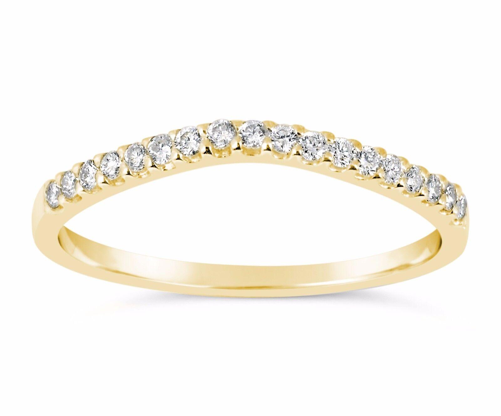 14k Yellow Gold Simulated Diamond Wedding Band Ring Curve...