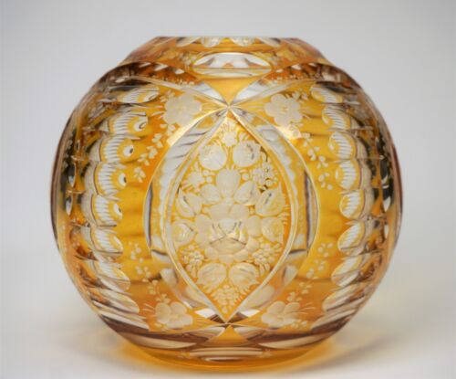 Antique Engraved Cut to Clear Amber Glass Rose Bowl Vase - Gorgeous!