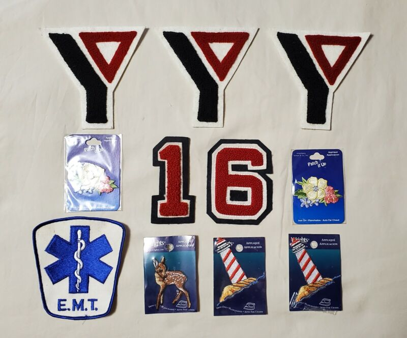 Vintage YMCA Patches Lot, EMT Patch, Various Embroidered Patches