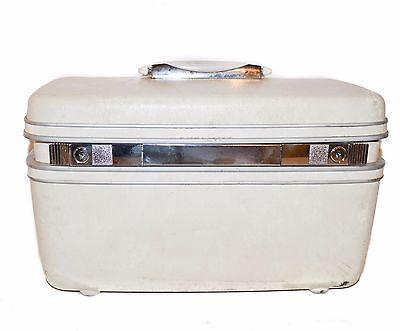 true vintage Samsonite cosmetic vanity train case white Clean Interior! no key