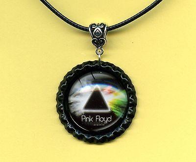 PINK FLOYD Necklace; 'Space Prism' #3 Glass Tile Charm Black Bottletop Setting